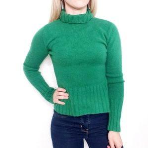 Autumn Cashmere Cozy Green Turtleneck Sweater 742